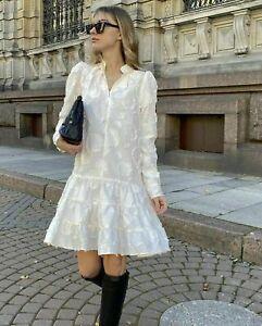 H&M AW2020 Conscious White Cream Jacquard Weave Dress BLOGGERS FAVORITE