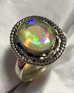 Stunning Faceted Ethiopian Opal Ring 925 Sterling Silver Size 8🌹