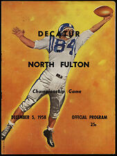 1958 NORTH FULTON vs DECATUR High Championship! Football Program great GRAPHICS!