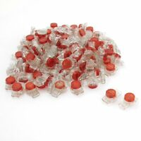 100 Pcs Data Phone Wire Butt Splice 3 Ports UR Connectors Red Clear AD