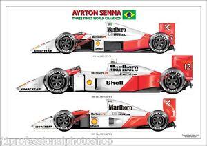 Ayrton Senna 3 times world champion ltd.edition art print No 90 signed by artist