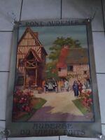 Affiche originale PONT-AUDEMER : AUBERGE DU VIEUX PUITS  Litho ALO