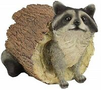 """Statue of Raccoon in a Log 7.5"""" High made of Resin"""