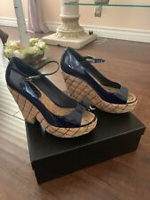 Auth Chanel Navy Blue Patent Wedge Shoes Sz 39