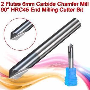 6mm Carbide Chamfer Mill 2-Flute 90° HRC45 CNC End Milling Cutter Bit Tool Safe