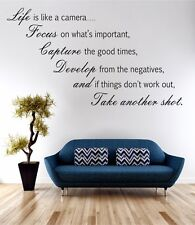 Life Is Like A Camera Wall Art Sticker Quote Decal Vinyl Transfer