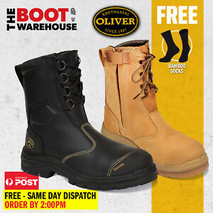 Oliver Work Boots 55385 & 55380 Steel Toe Zip Side Safety Work Boot, NEW STYLE!