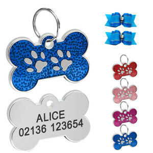 GLITTER BONE Personalised Pet Puppy Cat  Dog Name ID Tag Engraved Free Hair Bows