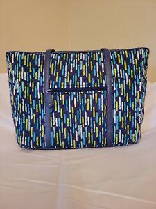 Vera Bradley Katalina Showers Blue Trimmed Laptop Tote Bag pockets Zip