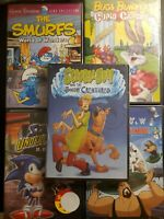 Kids DVD Movie Lot Scooby Doo Bugs Bunny Smurfs Jetsons Sonic 5