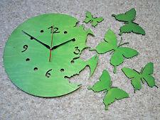 moderne Wanduhr Dekouhr Wanduhren Wandtattoo Wanddeko Schmetterlinge grün