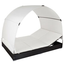 Aluminio tumbona doble con toldo chaise jardín longue de ratán con parasol negra