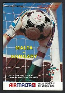 Rare Malta Football Programme Malta vs Hungary FIFA World Cup 1990 Qual 1988