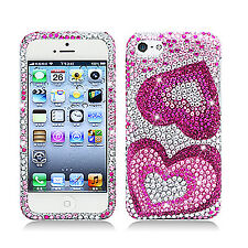 For Apple iPhone 5C Crystal BLING Hard Case Phone Cover Pink Hearts