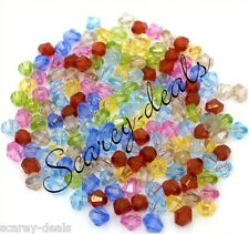 200 X 5mm Spacer Beads Multi-coloured Acrylic Bicone Beads Mixed 1st Class Post