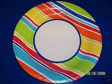 "Sunny Days Stripes Floral Garden Summer Party 10.5"" Banquet Plates"