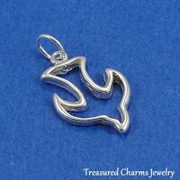 .925 Sterling Silver PEACE DOVE CHARM Bird Peace Symbol PENDANT