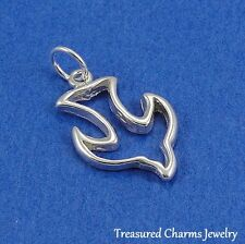 .925 Sterling Silver PEACE DOVE CHARM Bird Peace Symbol PENDANT