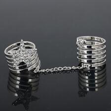 Design Gold Silver Crystal Star Charm Double Finger Ring for Hot Women Girl