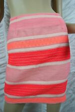 PINGPONG orange tri-tone striped cotton blend A-line mini skirt size 8 BNWT