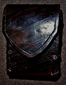 Jedi Knight XSmall Diagonal Line Carved Bison Brown Comm Handmade Leather Pouch