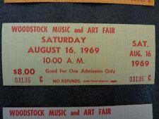 1969 Woodstock TICKET MINT  (GREEN) w/ Original signed certificate # 3574