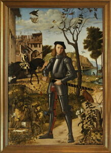 Classic Framed Vittore Carpaccio Young Knight in a Landscape Giclee Canvas Print