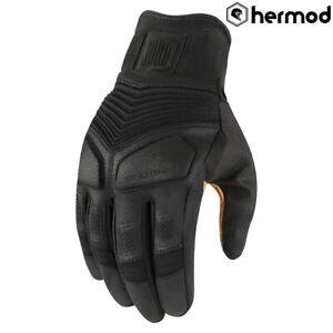 Icon 1000 Nightbreed Short Leather Motorbike Motorcycle Gloves - Black