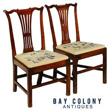 18TH C PAIR OF ANTIQUE MAHOGANY CHIPPENDALE NEEDLEPOINT SEAT SIDE CHAIRS