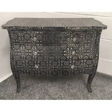 Blackened Silver Metal Embossed 3 Drawer Chest Of Drawers