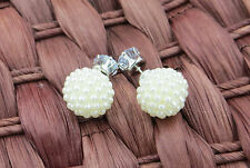 1 pairs Round With Cubic Zircon Charm pearl Stud Earrings Women Jewelry Gift