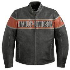 Lederjacke Harley-Davidson Victory Lane * Gr. XXL - Grau Orange Leder Jacke