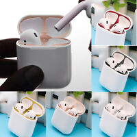 Metal Dust Guard Protective Case Shell Skin Sticker for Apple Airpods Earphone