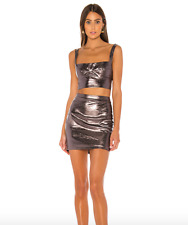 New NWT Revolve superdown Two Piece Set Mini Dress Skirt Gunmetal Silver XXS