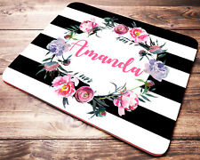 Custom Name Floral Striped PERSONALIZED Mouse Pad Office Desk Accessories Decor