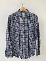 BILLY REID Men Long Sleeve Button Down Shirt Standard Cut Check Plaid Blue Red L