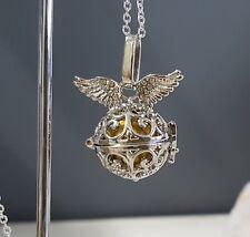Petite Silver & Gold Diamante Angel Wings Harmony Chime Ball Pendant w/Chain