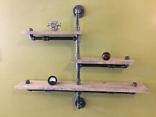 """Industrial Pipe Three Tier Urban shelf design 1""""X6"""" WOOD (Pick your own stain)"""