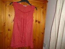 1 Russet red sleeveless hip length summer top, deep scoop neck, TU, size 8
