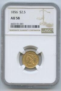 1856 $2.5 Liberty Gold Coin NGC AU58