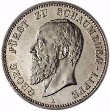 Jäger 165 Kaiserreich- Schaumburg Lippe 5 Mark Silber 1898 vz Fürst Georg
