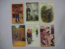 Lot: 9 Vintage Comic Postcards Children Acting Badly