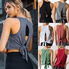 Womens Sexy Open Back Yoga Tops Shirt Workout Athletic Tank Sports Gym Quick Dry