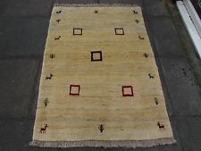 Old Hand Made Traditional Persian Rugs Oriental Wool Cream Gabbeh Rug 150x107cm