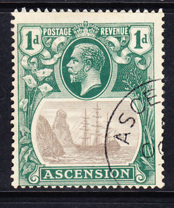 ASCENSION GV 1933 SG11d 1d grey-black & bright blue-green very fine used cat£500