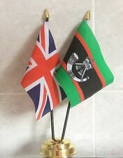 THE RIFLES AND UNION JACK TABLE FLAG SET 2 flags plus GOLDEN BASE BRITISH ARMY
