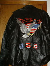 Diamond Plate Buffalo Leather Live To Ride Eagle Motorcycle Jacket XXL 2XL NEW
