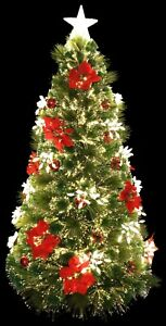 Decorated Holiday Festive Fiber Optic Christmas Tree Pre-lit with LED Lights