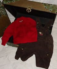 Gymboree Reindeer Frolic Brown Pants Overalls 0-3 months Cherokee Red Sweater *