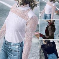 Mode Femme Haut Loose Jolie Couture en Dentelle Manche Longue Creux Shirt Tops